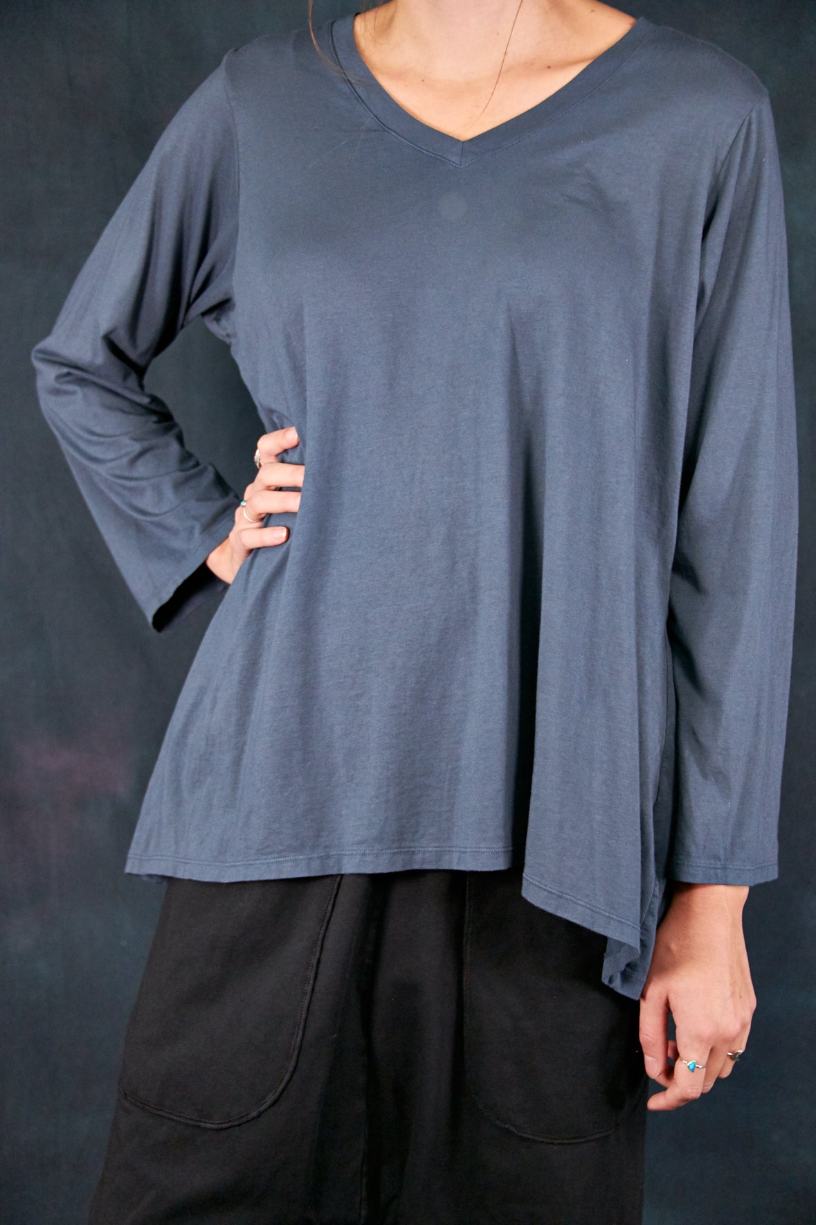 1219 Modal Aline Tee Antique Ink-U