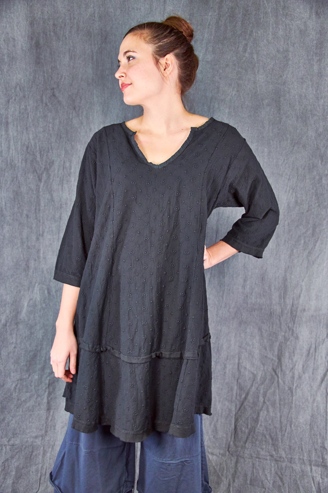2311 Gypsy Gauze Summer Dress-Black-U