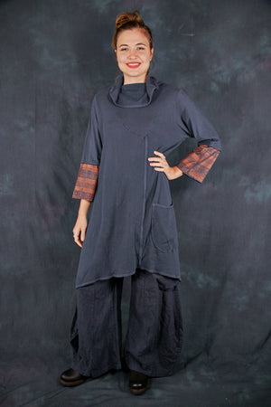 2328 Dichotomy Tunic Charcoal Navy-P