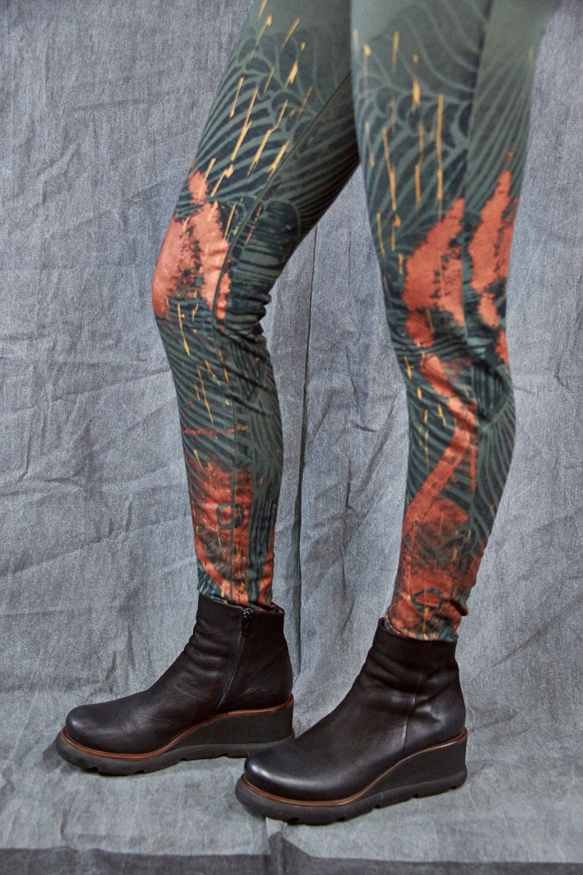 3136 Handprinted Legging Army Green-Copper Patina Wave