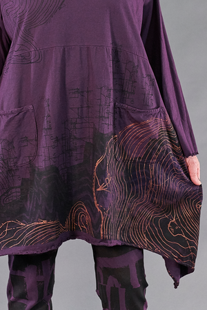 7229 Cowl Dress with Pockets-Moonrise-Geographic Selfhood P