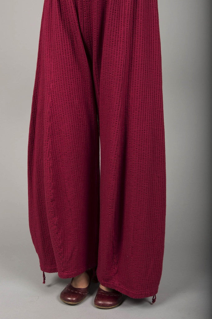 Textured Knit Billow Pants UnPrinted Rouge-Blue Fish Clothing