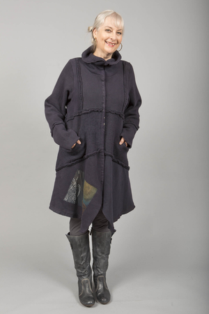Fleece Sherpa Coat Patched Midnight-Blue Fish Clothing