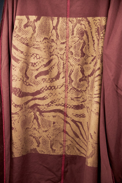 5282 Handprinted Cotton Velvet Coat-Incense Brown