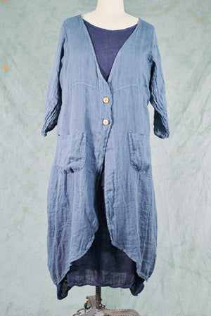 5292 Cyanotype Linen Duster-Century Blue-U