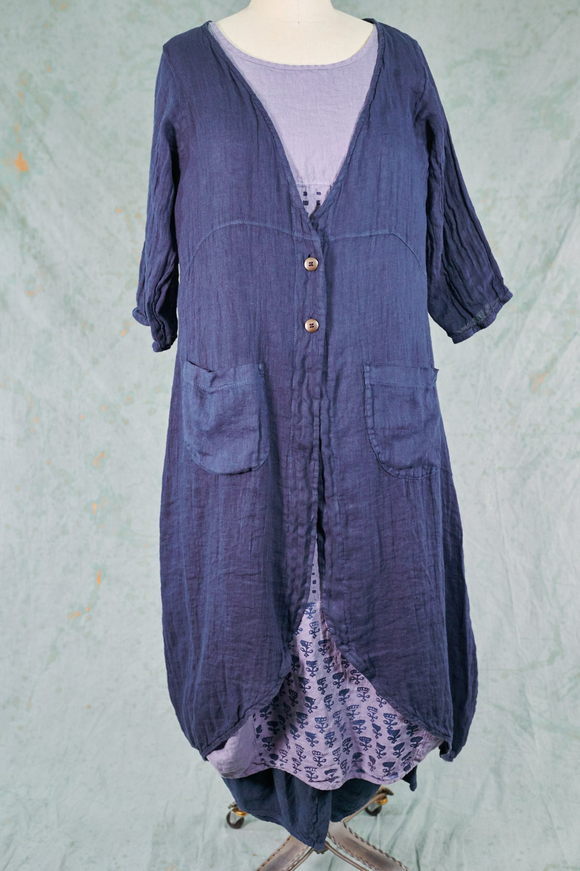 5292 Cyanotype Linen Duster-Blue Ink-P