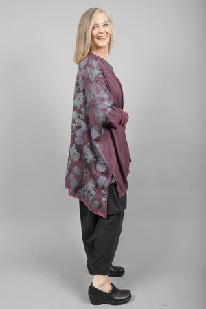 Celebration Cardigan Plum Rose Printed