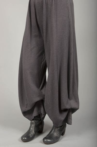Textured Knit Billow Pants UnPrinted Dark Charcoal-Blue Fish Clothing