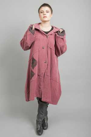New Patched Distressed Antique Red Fig Coat