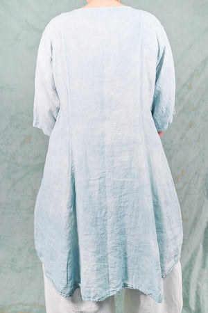 7212 Hand Dyed Linen Summer Dress-Blue Sky-P