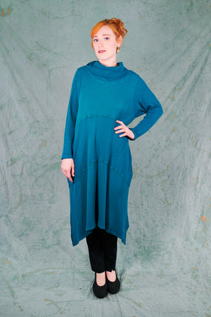 7220 Druid Cowl Dress-Turquoise-U