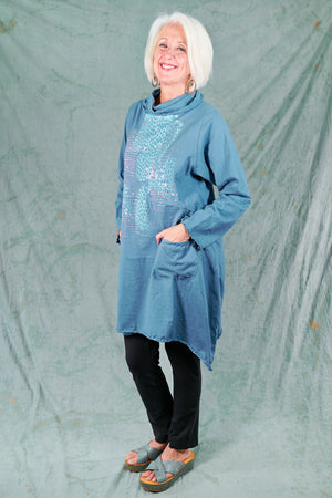 7229 Cowl Dress with Pockets-Whistler Blue-P