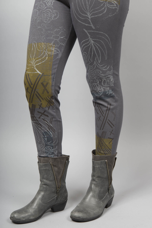 Winter BF Leggings Flower Deco Light Charcoal