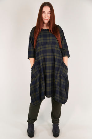 7114- Ink Blue Night Forest Plaid Dress