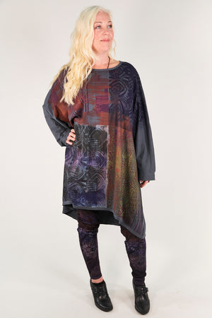 1258-Oversized Tunic Tee-Sea Grey-Multicolored Kaleidoscope