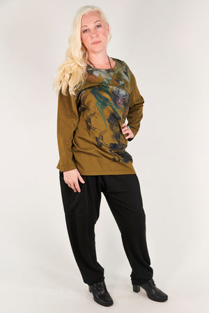 1157- Long Sleeve Studio Tee Antique Green- Printed