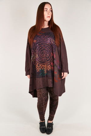 1258-Oversized Tunic Tee-Peat-Poetic Labyrinth