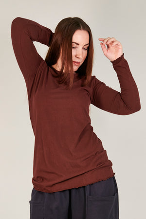 1245 L/S Organic Cotton Stretch Top -Tonal Armagnac