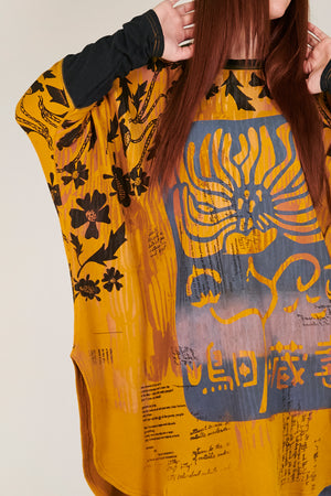 2251 Natural City Tunic-Turmeric with contrast thread-Printed