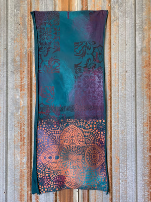 8002 Handprinted Blue Fish Scarf Teal-P