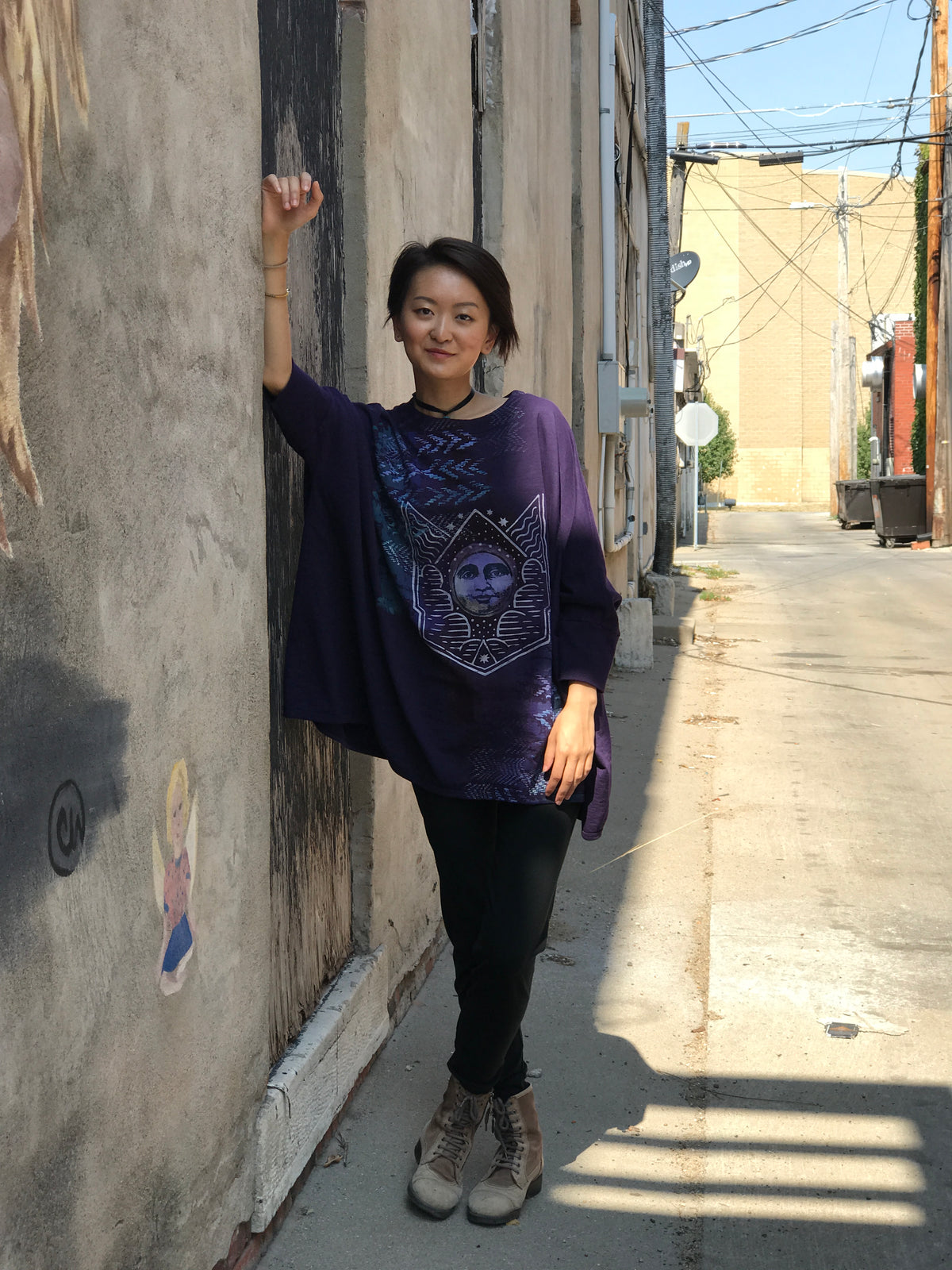 2218  French Terry Square Sweatshirt Printed Royal Purple Moon