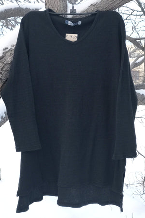 2293 Thermal Voyages Tunic-Black-unprinted