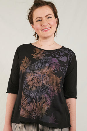 1238 Light Weight Cotton Tee Black-Floral Silhoutte