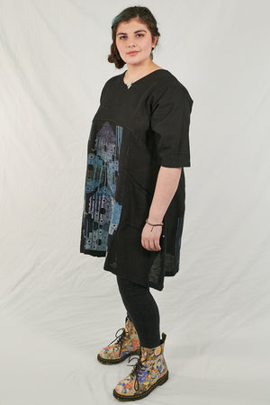 2257 Zen Tunic Black Medallion Print-P