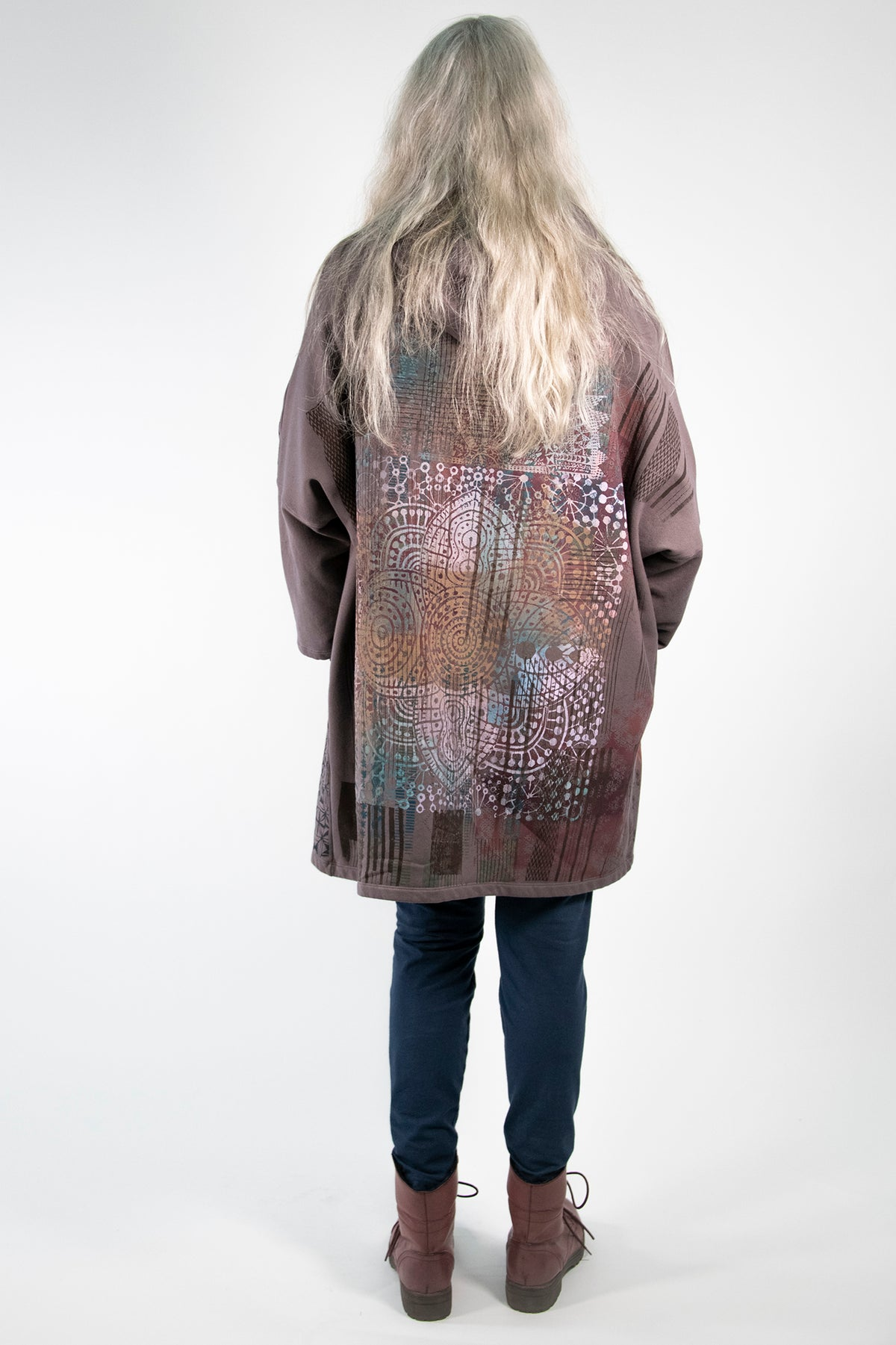 5255 HZ Square Zipper Hoodie Flint Bohemian Rainbow-P