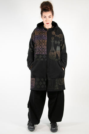 5255 Square Zipper Hoodie Black Labyrinth Print-P