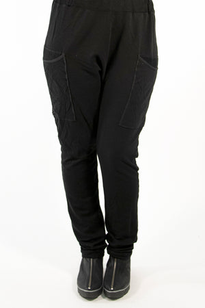 3293 Bamboo /Organic Cotton Knit Pant w huge pockets-Black-U