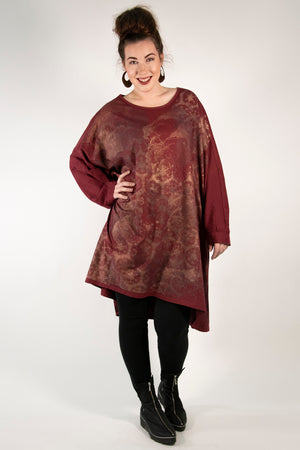 1255 Limited Edition Oversized Tunic Tee-Sangria-P