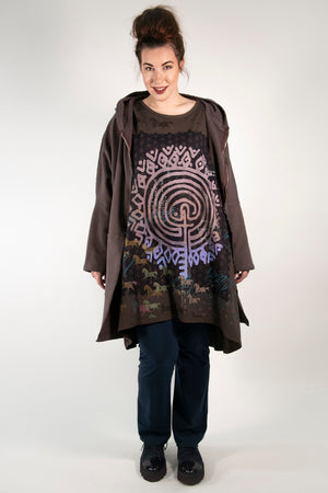 1255 Long Sleeve Oversized Tunic Tee- Italian Umber