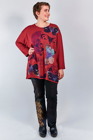 1157-Studio Tee Elegant Red- Printed