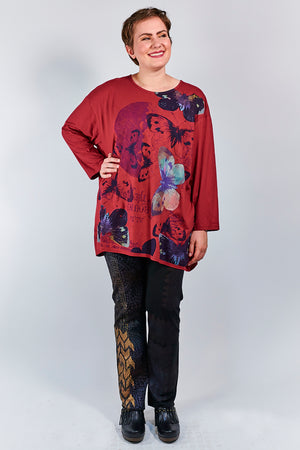 1157-Oversized Studio Tee Elegant Red- Printed