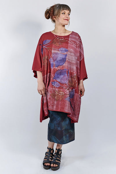 1255 Oversized Tunic Tee- Elegant Red- Woven Folkloric Poetry