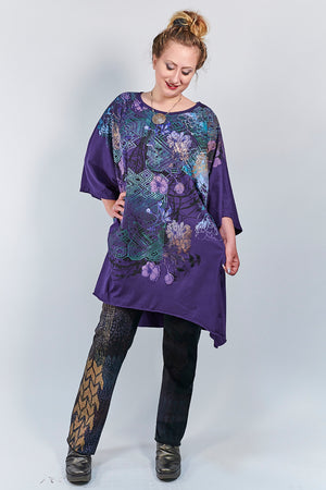 1255 Oversized Tunic Tee-Mystic Purple-Ziggurat Chant