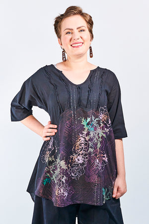 2244 Dawn Clouds Lawn Tunic Black-P