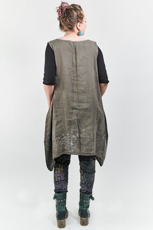 6182 Linen Pinafore Bark-P