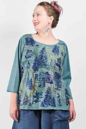 1145 S/S Shorter Length Cafe Tee Kingfisher-Storybook Forest Print