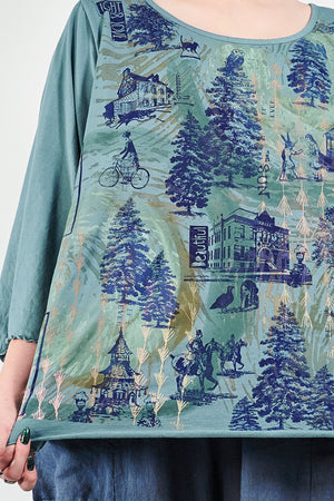 1145 S/S Summer Length Cafe Tee Kingfisher-Storybook Forest Print