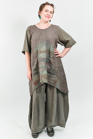 7203 Linen Pocket Dress- Bark-Printed