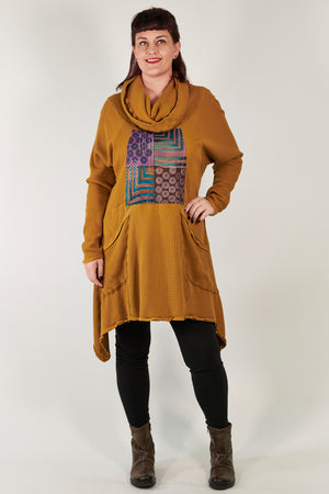 2292 Cowl Thermal Pocket Tunic Palo Santo-P