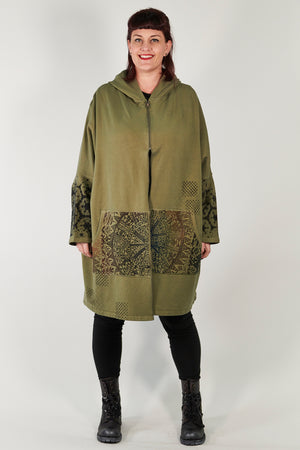 5255- HZ Square Zipper Hoodie Army Green Printed