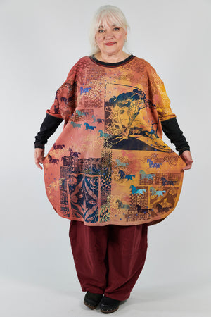 2251 Natural City Tunic Sunshine/Sunset Horses among Trees Hand-Dyed