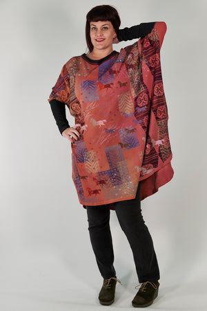 2251 Natural City Tunic Sunshine/Sunset Abstract Horses Hand-Dyed