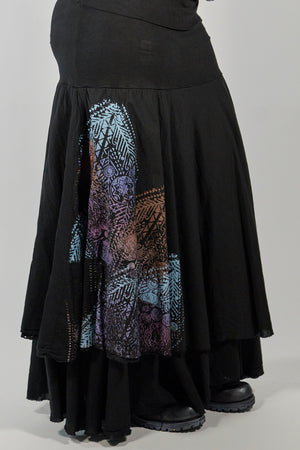 4113 Trilogy Skirt Black Hand Printed-P