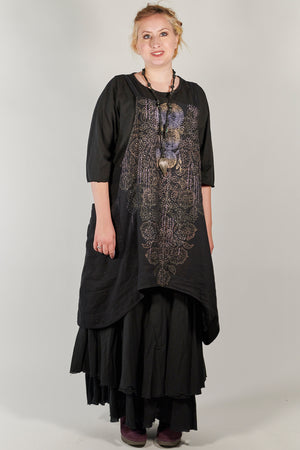 6202 Juniper Apron Jumper-Black-Sweet Dream Print