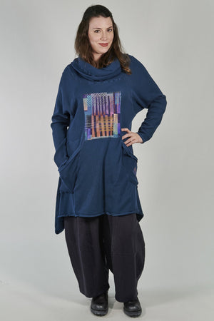 2292 Cowl Thermal Pocket Tunic Studio Blue-P