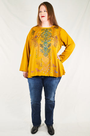 1190 Long Sleeve Cafe Tee Turmeric-Printed
